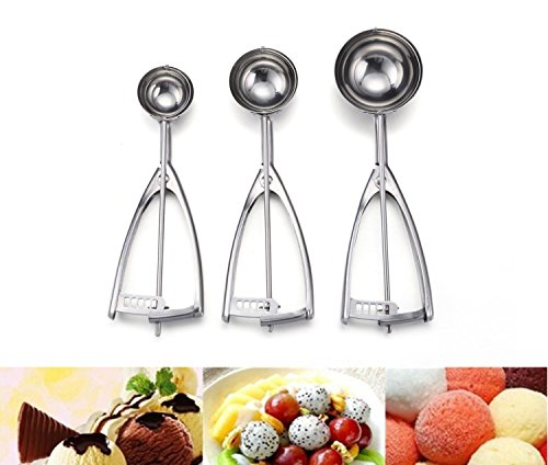 [Update Version]Ilyever Stainless Steel Ice Cream Scoop,3 Piece Professional Cookie Dough Melon Scoop, Best Metal,Super Grip and Stylish Design - Rock Your Kitchen with Your New Super Scoop!