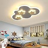Lámpara Para Habitación De Niños Luz De Techo Con Control Remoto Pantalla De Acrílico LED Regulable Lámpara De Techo Niños Niñas Luces De Dormitorio Sala De Estar Oficina Candelabro (Gray,58CM)