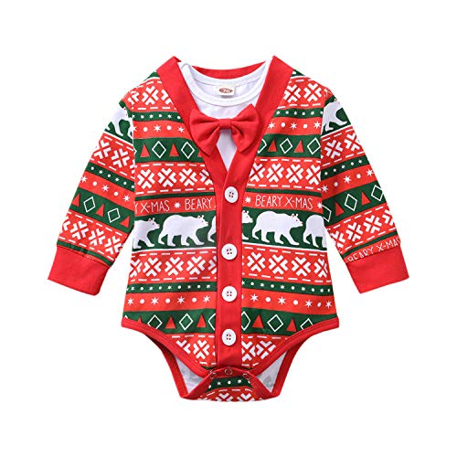 Fioukiay Preemie Newborn Baby Boys Christmas-Bodysuit-Romper-Clothes-Outfits-SetFioukiay Preemie Newborn Baby Boys Christmas-Bodysuit-Romper-Clothes-Outfits-Set(Red Bear 3,0-3Months)