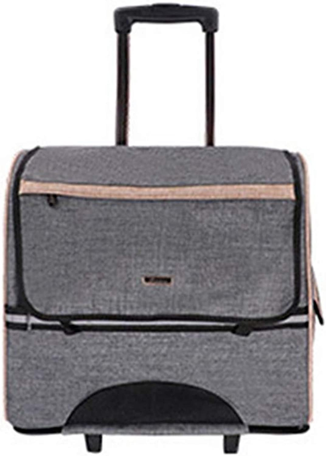 Pet Travel Trolley Bag,Fully Enclosed Pet Trolley Bag Rolling Pet Travel Carrier Pet Carrier Backpack with Wheels, Removable And Foldable,44  23  39Cm