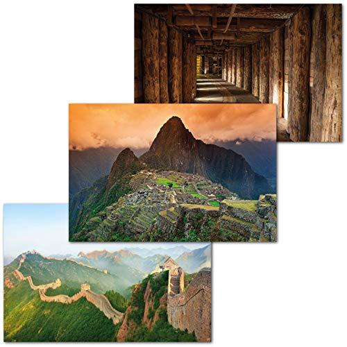 GREAT ART Juego de 3 Carteles XXL – Sitios de la UNESCO – Mina de Sal de Wieliczka Templo de Machu Pichhu Perú Gran Gran Muralla China Mural póster Cada uno 140 x 100 cm