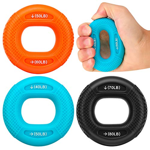 MoKo Hand Grip Ring, 3 Pack Finger Physical Exerciser Strengthener Wrist Forearm Workout Trainer Silicone Squeezer Gripper for Hand Exercising Muscle Builder (40 50LB, 50 60LB, 70 80LB)