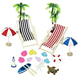 BUZIFU Dollhouse Decoration 20 Pcs Beach Style Miniature Ornament Kits Set for DIY Fairy Garden Dollhouse and...