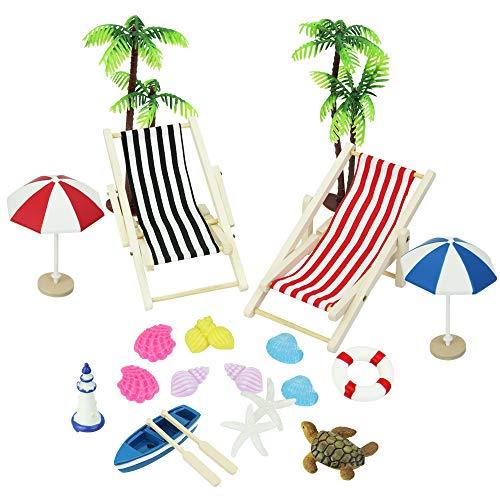 BUZIFU Puppenhaus Dekoration 20 stücke Strand Stil Miniatur Ornament Kits Miniatur Fee Garten DIY Puppenhaus Strandkorb, Boot, Ruder, Sonnenschirme, Kokospalme, Schildkröte, Seestern