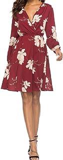 Shinningstar Womens' V-Neck Long-Sleeved Printed Knee-Length Daily Casual Dress