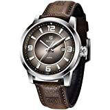 Mens Watches Genuine Leather Quartz Wrist Watch for Men Waterproof Casual Business Analogue Wristwatch Auto Date Lume Dial BENYAR (Brown 5168)
