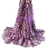 Aisunne African Lace Fabrics 5 Yards Nigerian French Lace Fabric with Fashion Embroidered Flower for Wedding Party Dresses (Purple B)