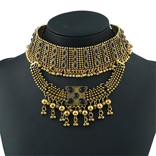 YAZILIND Tribal and Ethnic Inspired Chunky Aztec Sun Golden Beads Statement Necklace Chunky Bib Necklace