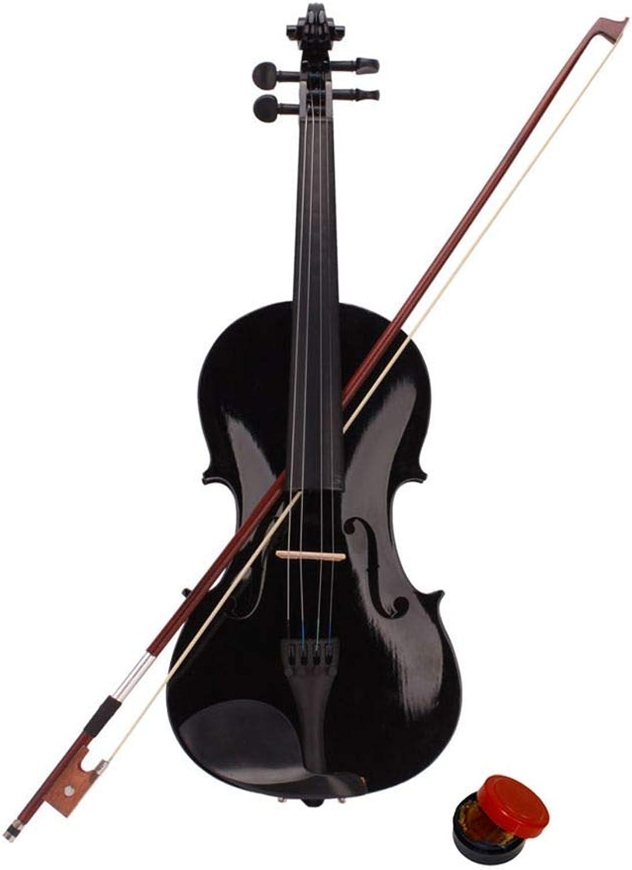 Mengonee 4 4 Full Größe Holz akustischen Violine Anfnger-Satz mit Fall-Bow Rosin Geschenke schwarz