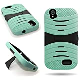 CoverON for ZTE Warp Sync Case - [Titan Armor Series] Hybrid Hard and Soft Shockproof Dual Layer Protective Phone Cover with Kickstand - Teal & Black