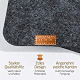 Miqio® - Design Tischset aus Filz   Marken Label aus echtem Leder   6er Set Platzset (dunkel grau anthrazit) abwaschbar   Filzmatte Tisch Untersetzer Platzdeckchen abwischbar - 5