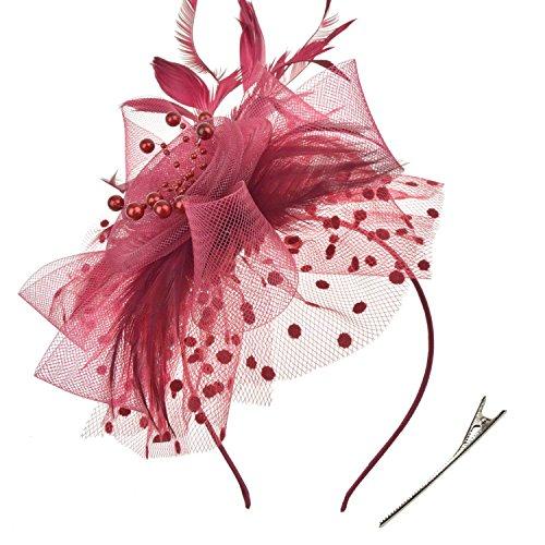 DRESHOW Fascinators Hut Blume Mesh Bänder Federn auf einem Stirnband und einem geteilten Clip Cocktail Tea Party Headwear für Mädchen und Frauen, - Burgundy - Gr. Einheitsgröße