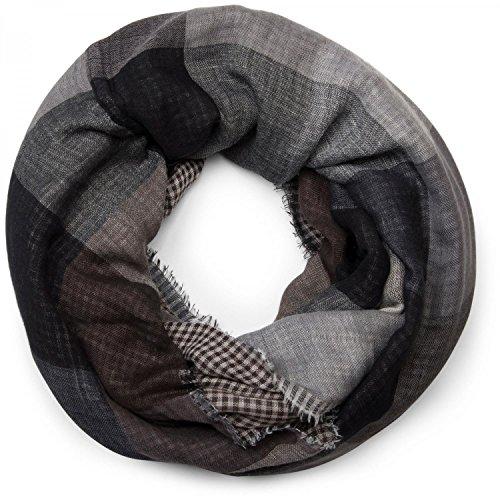 styleBREAKER fular de tubo con motivo a cuadros cálido con deshilachados, unisex 01018037, color:Gris-Negro