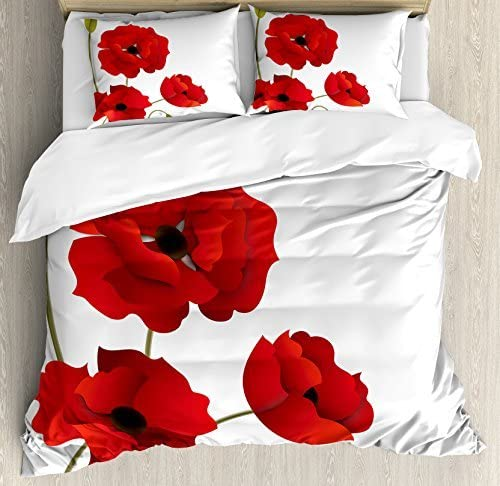 Ambesonne Floral Duvet Cover Set Vivid Max 80% OFF Flowers Special price for a limited time Poppy Size Queen