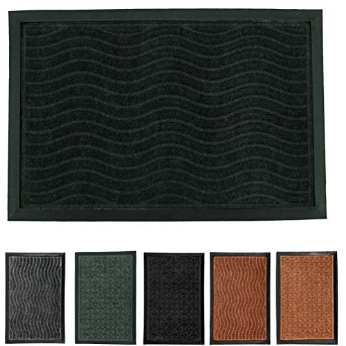 LucaHome - Felpudo Entrada casa de CIPRO Antideslizante, Felpudo, fácil Limpieza, Felpudo Absorbente alcolchado, Fepudo para Exterior e Interior (Negro Ondas, 45x75 cm)