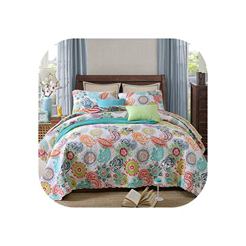 N/A Quality Printed Bedspread Quilt Set 3Pc Quilted Bedding Cotton Quilts Bed Covers Pillowcase King Queen Size Coverlets Blanket,3Pcs Set,No4