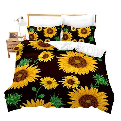 Loussiesd - Juego de ropa de cama con diseño de girasol, romántico, cálido, romántico, funda de edredón y 2 fundas de almohada, diseño de girasol, color amarillo