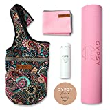 Gypsy Earth Yoga Carry Bag with Yoga mat (Pink) with Free Sustainable Water Bottle and Micro Fiber Towel, Fit Most Size Mats, Multi-Functional Usage, Yoga Tote Bag, Yoga Gift Set, Yoga Starter Kit