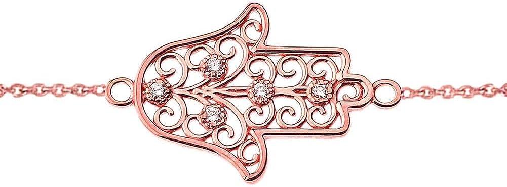 CaliRoseJewelry 14k Gold Sideways Hamsa Hand Cubic Zirconia Link Bracelet