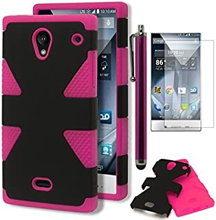Aquos Crystal Case, Bastex Heavy Duty Hybrid Dynamic Protective Case - Soft Pink Silicone Cover with Black Hard Shell Case for Sharp Aquos Crystal 306SHINCLUDES Screen Protector + Stylus
