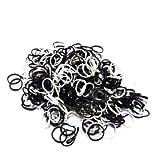 ETHAHE 1200pcs 黒い&白いの組み合わせラテックスフリー織機リフィルゴムバンドブレスレットS-クリップ48枚付ホワイト&ブラック