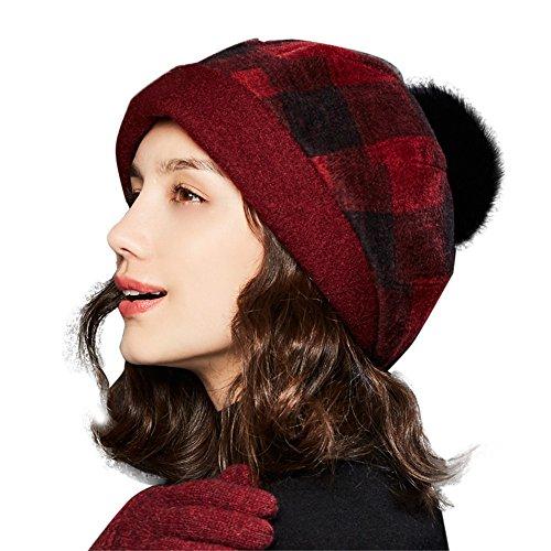 Kenmont Herbst Winter Baske Baskenmützen Wollmütze Barett Cap Beanie Mütze Warm Damenmütze Hut mit Herausnehmbar Faux Pelz Ball Pom Pom (Rot)