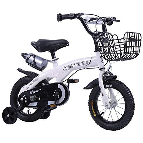 FYLY-12 14' 16'18' Bicicleta Infantil para Niños y Niñas, Frenos de Doble Disco Bicicleta con Ruedas de Entrenamiento y Sostenedor de Botella de Agua, para Pequeños,Blanco,12'