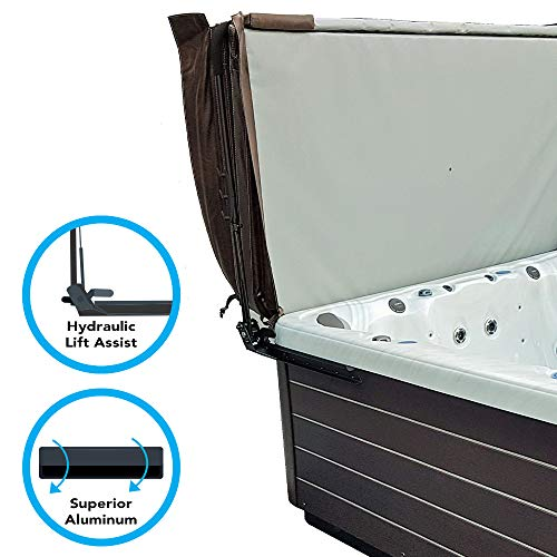 Puri Tech Cover Lifts - Elevate Top Mount Hydraulic Spa & Hot Tub Cover Lift Removal System Steel Brackets Superior Powder Coated Aluminum Structure Fits Most Spas & Hot Tubs