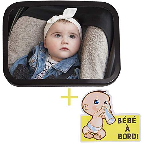 BABY PLEASURE Rétro de surveillance pour voiture, Rétroviseur avec miroir incassable [17,5 x 24 cm] pour voir bébé dans son siège auto à l'arrière, Accessoire Sticker « bébé à bord » inclus.