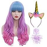 Peluca rosa y azul para mujer + diadema de unicornio + purpurina de lentejuelas, peluca larga de colores con flequillo para niñas, mujeres, cosplay, fiesta de disfraces, peluca multicolor 019