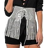 Barode Rhinestones Tassel Hip Skirt Sparkly Belly Dance Scarf Crystals Costume Hip Scarfs Belt Tribal Fringe Performance Outfits Skirt Festival for Women and Girls (White)
