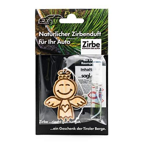 sagl.tirol Natürlicher Autoanhänger aus Zirben Holz inkl. 5ml Zirben Raumparfum Schutzengelchen
