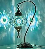 Demmex 2019 turco marroquí mosaico mesa noche Tiffany lámpara de noche para uso en Estados Unidos, turquesa, verde azulado, verde
