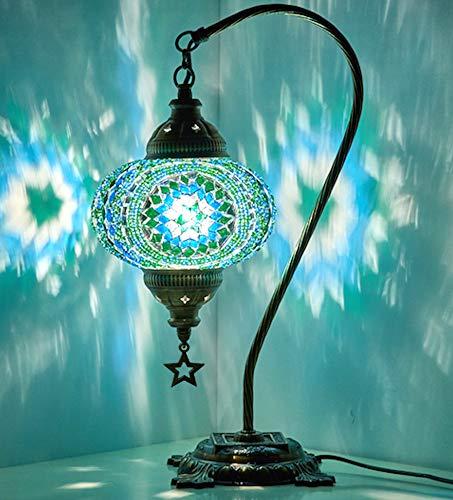 Demmex 2019 - Lampada da comodino da comodino con mosaico marocchino turco e comodino Tiffany, per uso statunitense, turchese, verde acqua