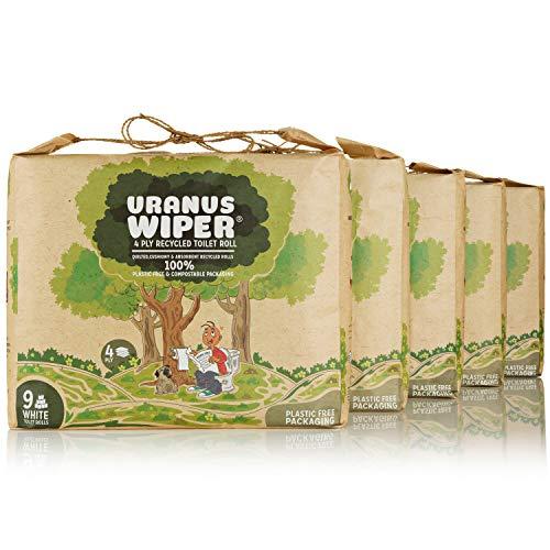 Uranus Wiper® Toilettenpapier | 100% ökologische, recycelt, OHNE Kunststoffverpackung | 4-Lagige Sanftes Weiß Klopapier | Riesenpackung von 45 WC Papier Rollen für einen guten sozialen Zweck
