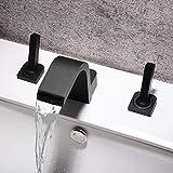 Leilims Todos los nuevos Cobre Gama Alta de Agua Caliente y fría Grifo Mueble de baño Negro Doble-Doble Cara en Tres Batería Americana de Lavabo