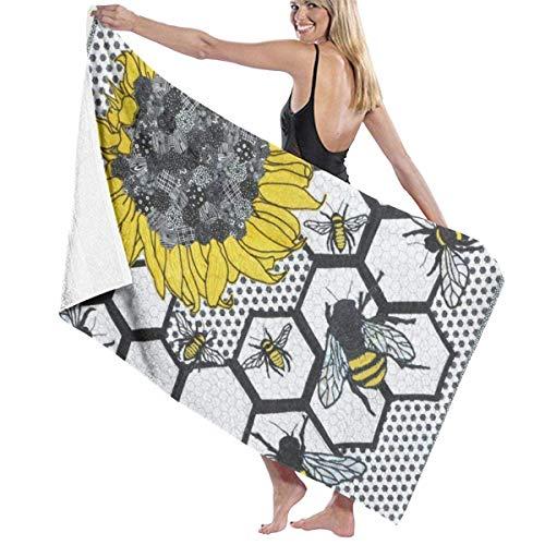 WKLNM Bad Handdoeken, Zonnebloem Bijenkorf Handdoeken 100% Polyester Yoga Handdoek Zeer absorberende Body Handdoek Sneldrogende Badlakens voor Home Hotel Spa