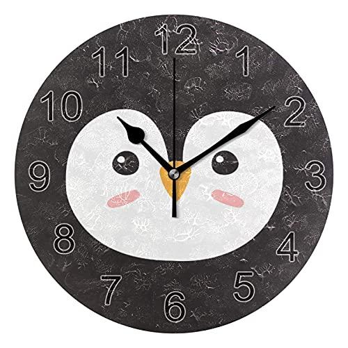 Gokruati Reloj de Pared silencioso,Reloj de Cocina,Relojes de Cuarzo silencioso Que no Hace tictac,para Sala de Estar,dormitorios,(Diámetro: 25 cm),Pared de Cara de pingüino de Dibujos Animados
