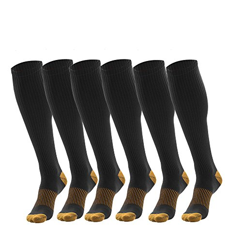 3 Pairs Black Compression Socks For Men - Dress Compression Socks for Men One Size Fits All