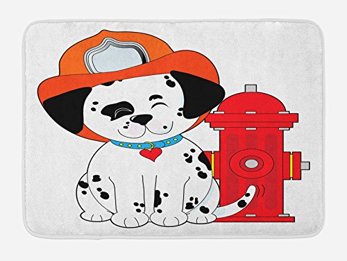 Lunarable Fireman Bath Mat, Cartoon Style Dalmatian Firefighter Puppy Wiggling Its Tail with Fire Hydrant, Plush Bathroom Decor Mat with Non Slip Backing, 29.5' X 17.5', Orange Black