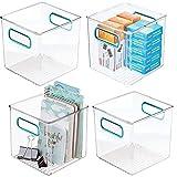 mDesign Juego de 4 cajas de almacenaje con asas integradas – Cajas...