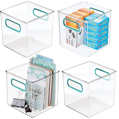 "mDesign Plastic Home, Office Storage Organizer Container with Handles for Cabinets, Drawers, Desks, Workspace - BPA Free - for Pens, Pencils, Highlighters, Notebooks - 6"" Cube, 4 Pack - Clear/Blue"
