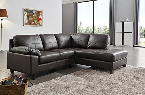 SC Furniture Ltd Brown High Grade Genuine Leather Corner Sofa BOSTON (Right Hand Facing)