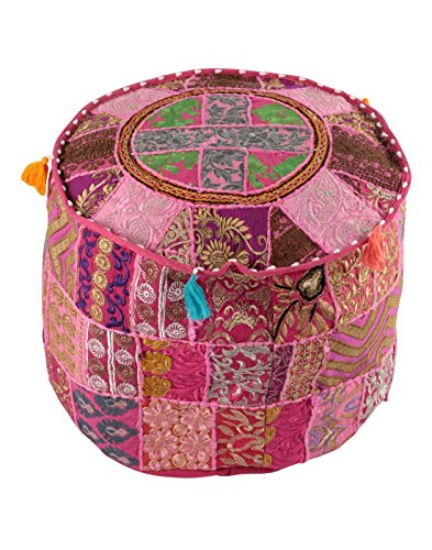 NANDNANDINI-Indian Vintage Patchwork Ottoman Pouf, Indian Living Room Pouf, Foot Stool, Round Ottoman Cover Pouf, Floor Pillow Ottoman Poof,Traditional Indian Home Decor Cotton Cushion Ottoman Cover