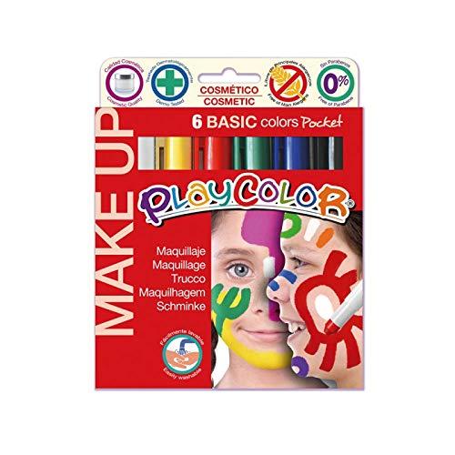 PlayColor- Caja de 6 témperas sólidas, Multicolor, (1001)