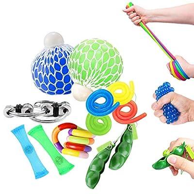 OKSANO Juguetes Sensoriales antiestres 12Pcs, Juguetes Autismo Fidget para niños y Adultos Fiddle Toys for ADHD, Pelota antiestres, Flippy Chain, Soybean Stress Toys, Tangle Toys Esperar de OKSANO