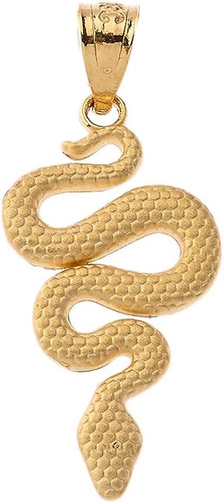 Textured Gold Snake Serpent Animal Charm Pendant
