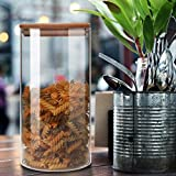 Taoke Tarro de vidrio para almacenamiento, con tapa hermética de bambú, 7,9 x 3,94 pulgadas, paquete de 2, 1300 ml de grano, café y té, recipiente para alimentos de cocina, tarro transparente 8bayfa (Color: Transparente)