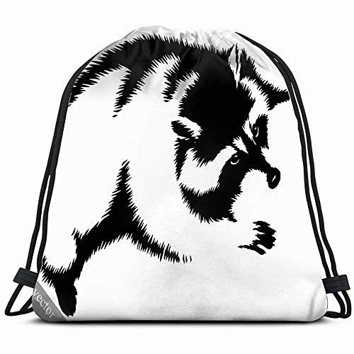Zwart-wit liniair schilderij Mapache dieren wildleven rugzak met trekkoord gymtas lichte gymtas waterdicht voor vrouwen en mannen voor sport reizen wandelen camping sho 14 x 17 inch