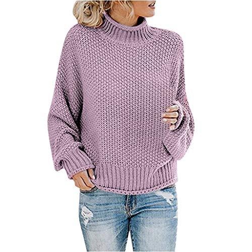 Dasongff gebreide trui voor dames, gebreide losse lange mouwpullover met hoge kraag, vrije tijd, elegante sweatshirt met lange mouwen, winter blouse, oversize, warme rolkraagpullover Small lila